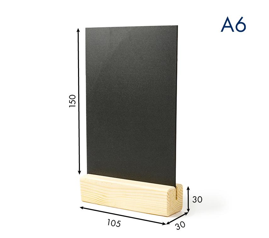 Тейбл тенты и менюхолдеры А6 меловые вертикальные с деревянным основанием