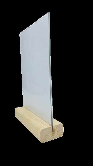 Менюхолдер (тейбл тент) А3 вертикальный на деревянном плоском основании