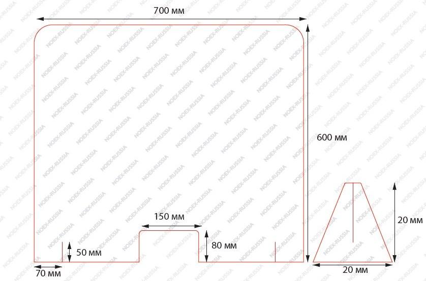 Экран защитный противовирусный 700х600 мм
