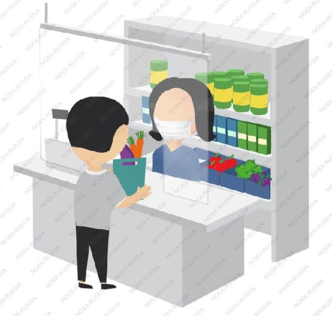 Противовирусный защитный экран для магазинов