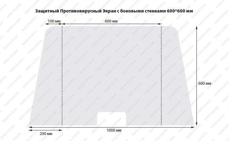 Защитный противовирусный экран с боковым стенками 600х600 мм