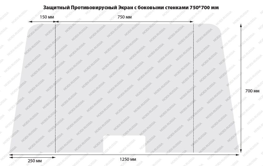 Защитный противовирусный экран с боковым стенками 750х700 мм