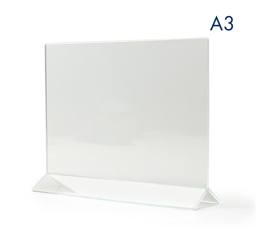 Тейбл тенты и менюхолдеры А3 горизонтальные пластиковые с прозрачным основанием