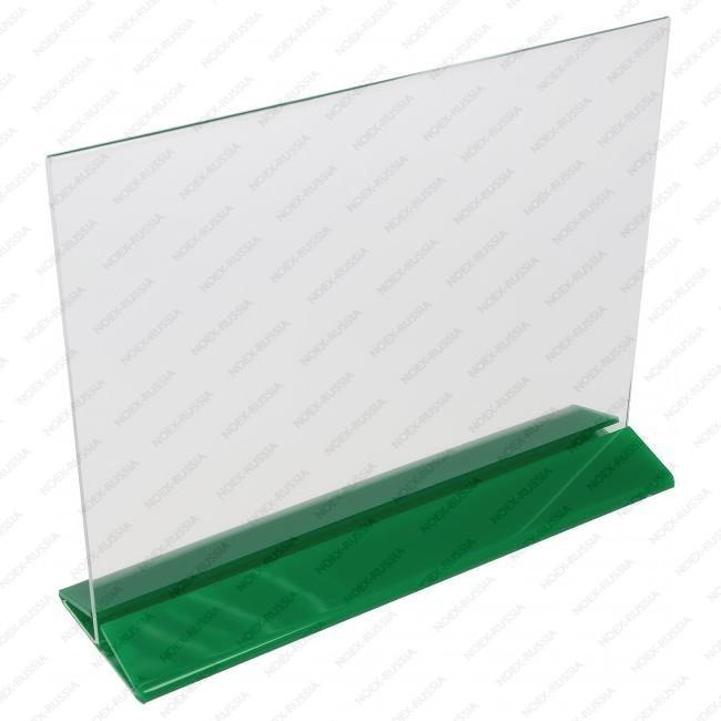 Тейбл тент А4 с цветным основанием горизонтальный зеленый