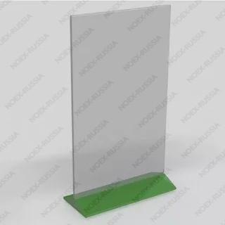 Тейбл тент А5 с зеленным основанием расположен на столе