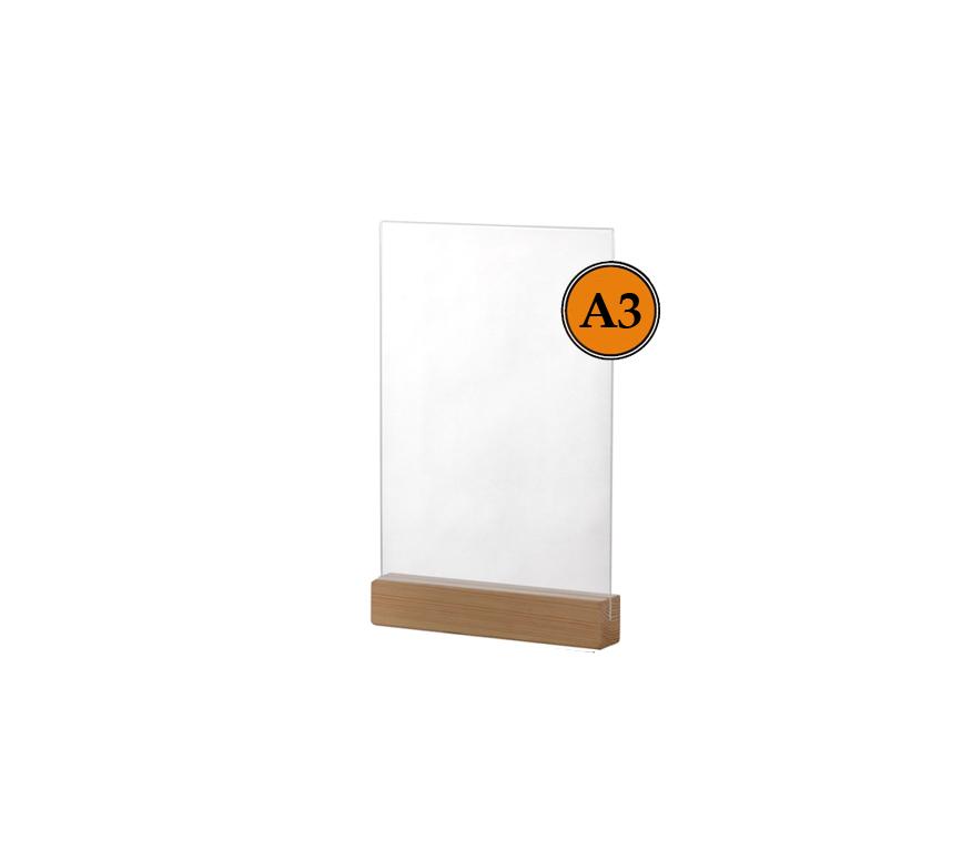Тейбл тенты и менюхолдеры А3 вертикальные пластиковые с деревянным основанием