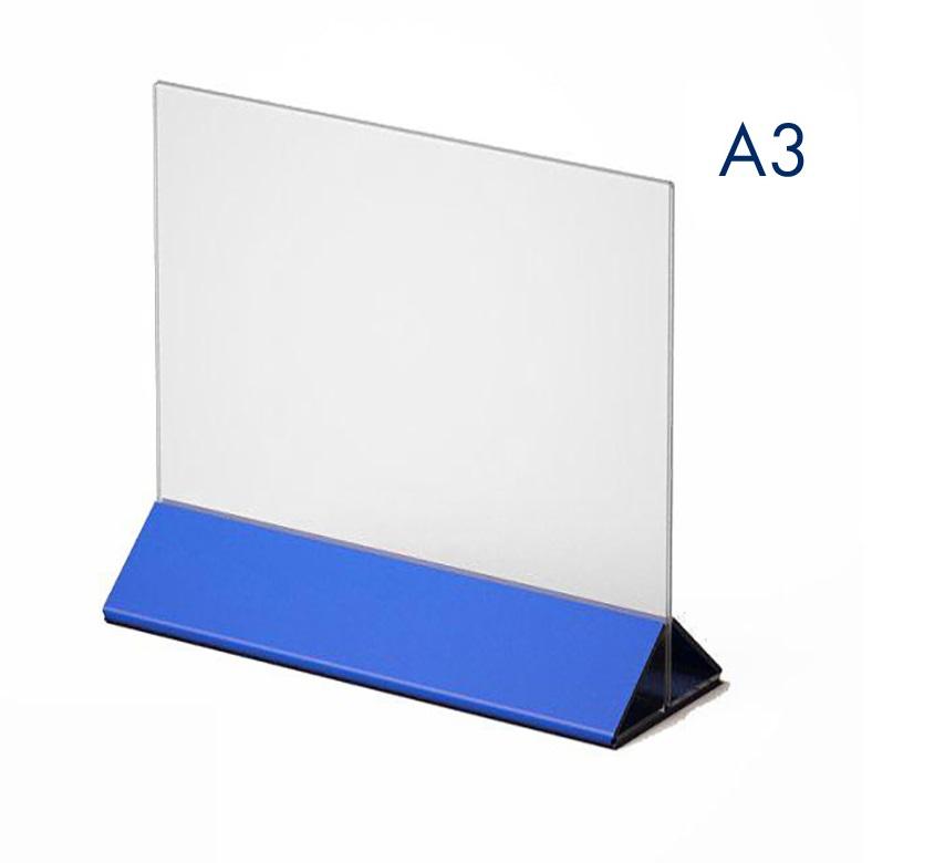 Тейбл тент и менюхолдер А3 с цветным основанием горизонтальный