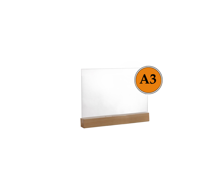 Тейбл тенты и менюхолдеры А3 горизонтальные пластиковые с деревянным основанием