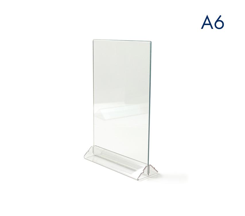 Тейбл тенты и менюхолдеры А6 вертикальные с прозрачным основанием