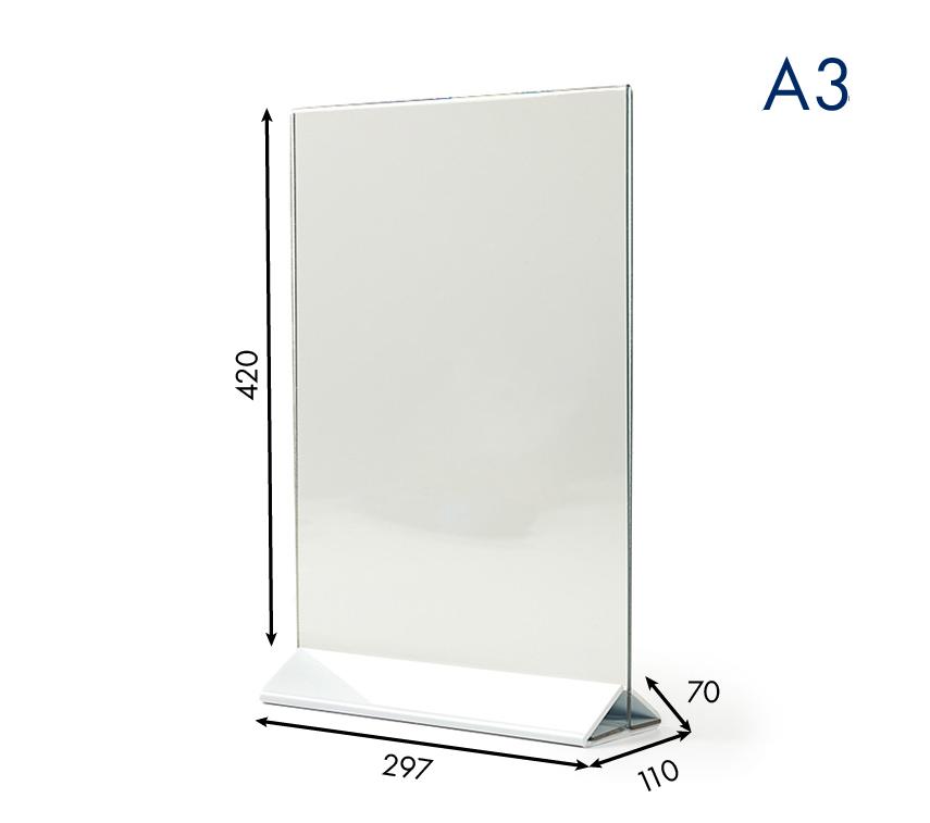 Тейбл тенты и менюхолдеры А3 вертикальные с прозрачным основанием