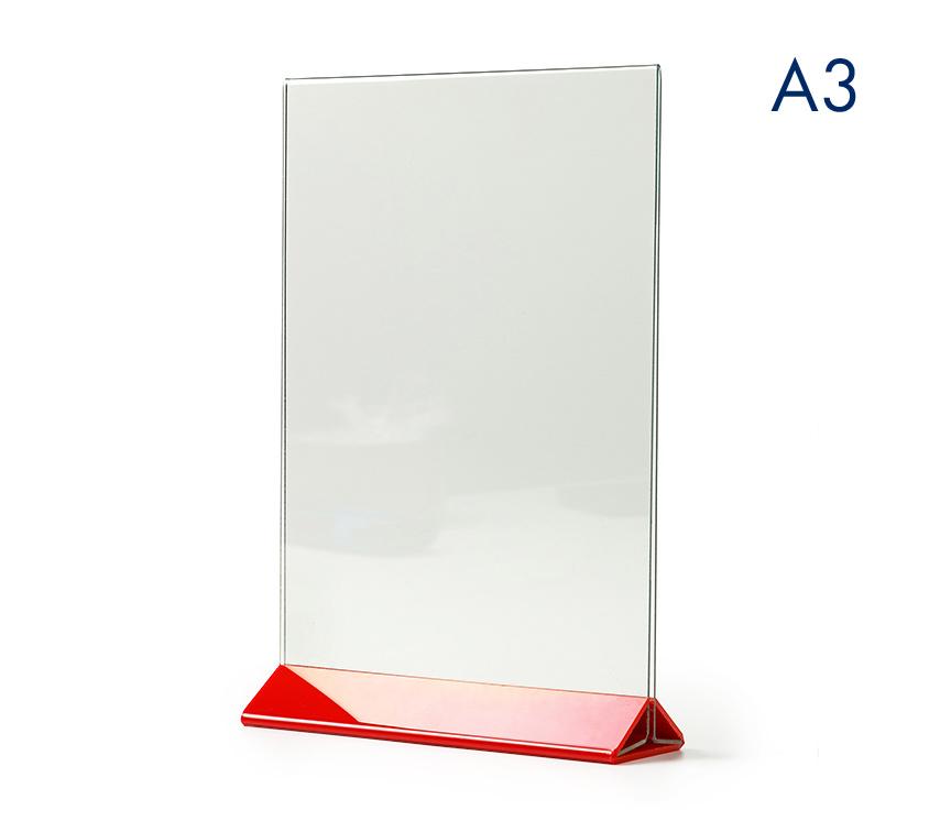 Тейбл тенты и менюхолдеры А3 вертикальные с цветным основанием