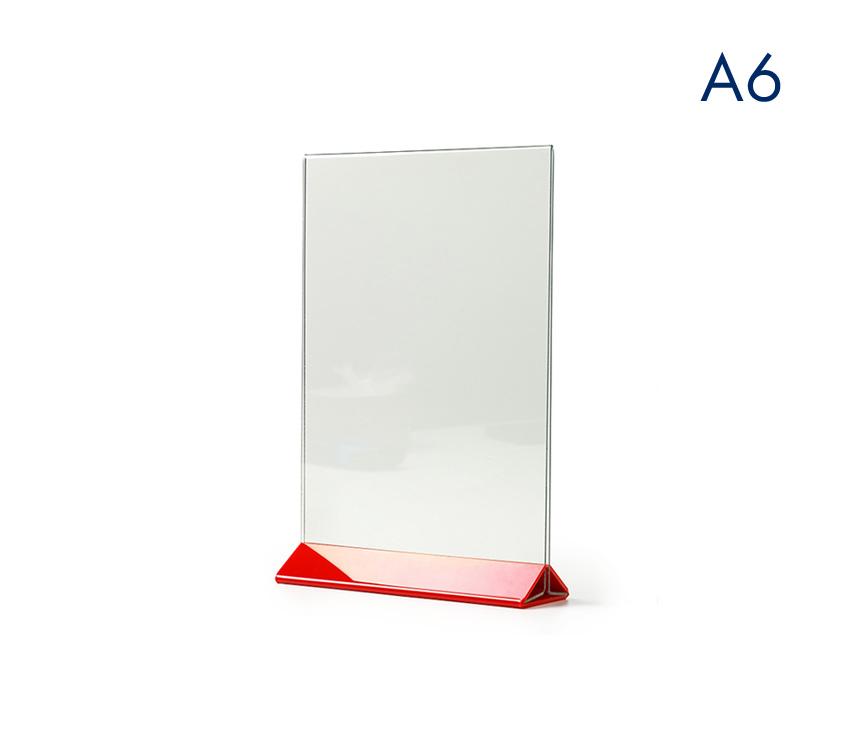 Тейбл тенты и менюхолдеры А6 вертикальные с цветным основанием