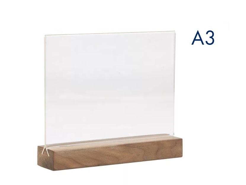 Тейбл тенты и менюхолдеры А3 горизонтальный с деревянным основанием
