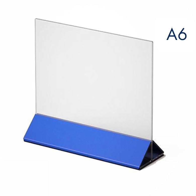 Тейбл тент и менюхолдер А6 с цветным основанием горизонтальный