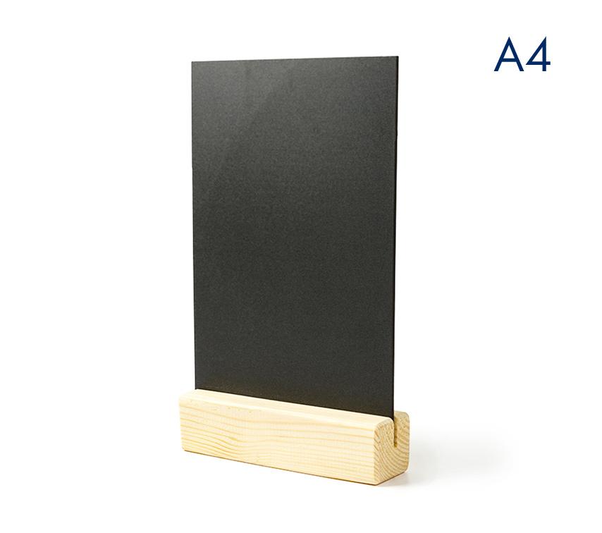 Тейбл тенты и менюхолдеры А4 меловые с деревянным основанием вертикальные