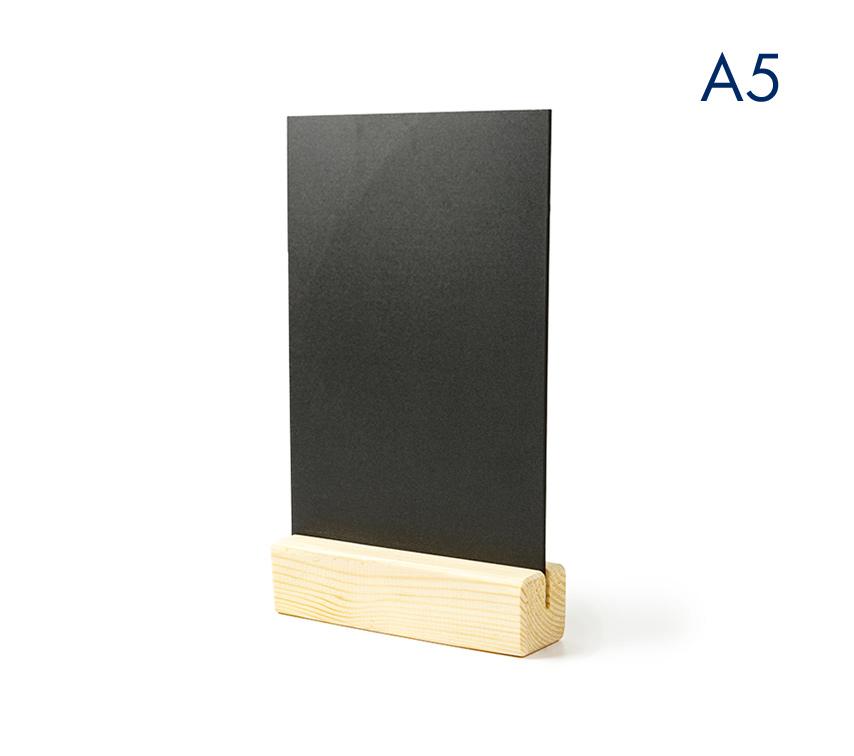 Тейбл тенты и менюхолдеры А5 меловые вертикальные с деревянным основанием