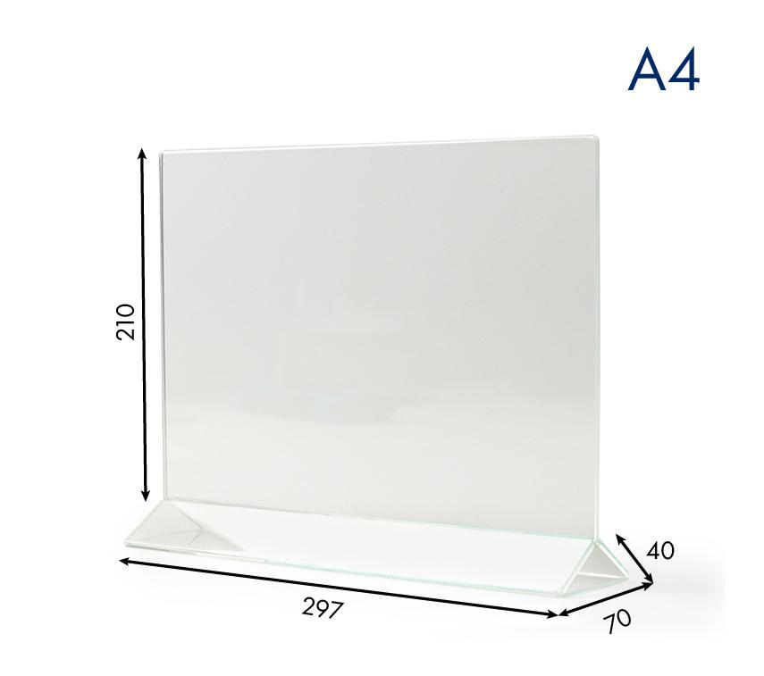 Тейбл тенты и менюхолдеры А4 горизонтальные с прозрачным основанием