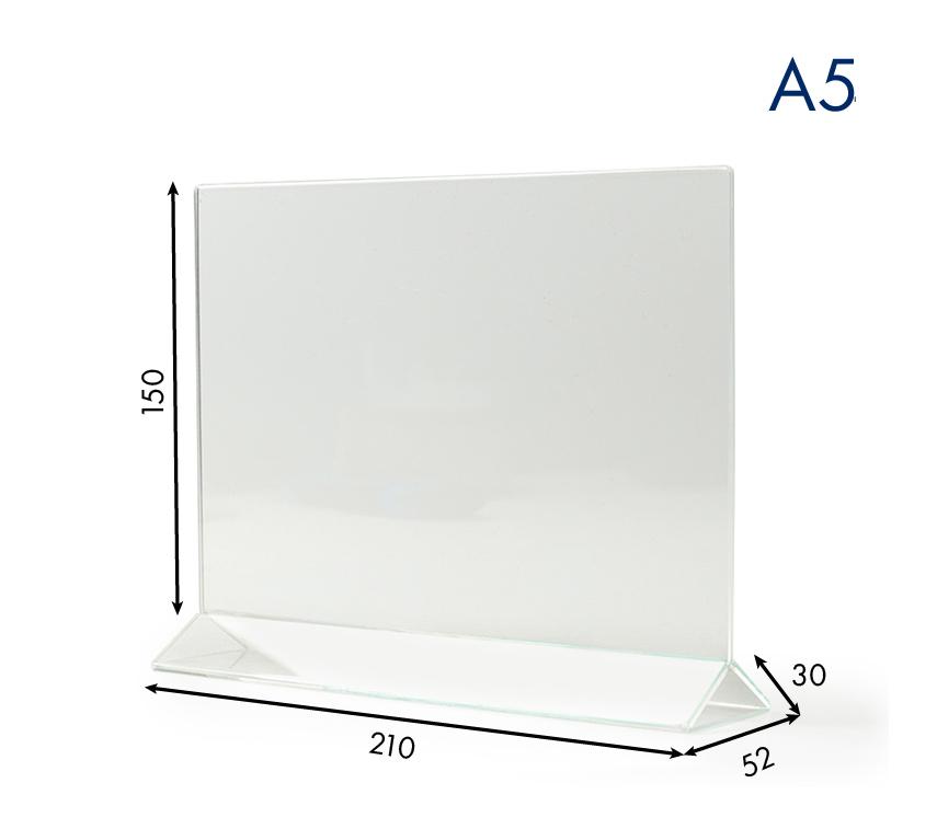 Тейбл тенты и менюхолдеры А5 горизонтальные с прозрачным основанием