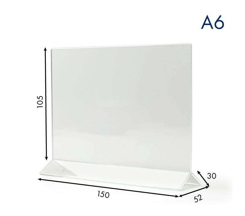 Тейбл тенты и менюхолдеры А6 горизонтальные пластиковые с прозрачным основанием