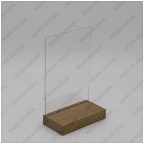 Тейбл тент и менюхолдеры А3 вертикальный с деревянным основанием оптом