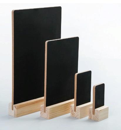 Тейбл тенты и менюхолдеры А3 меловые с деревянным основанием вертикальные