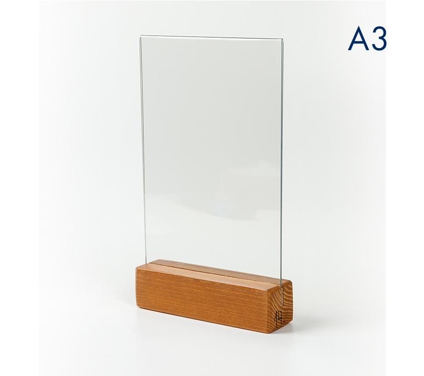 Менюхолдер (тейбл тент) А3 вертикальный с деревянным основанием