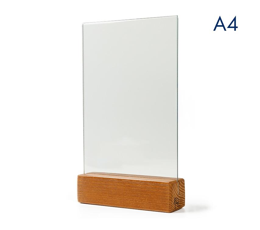 Менюхолдер (тейбл тент) А4 вертикальный с деревянным окрашенным основанием