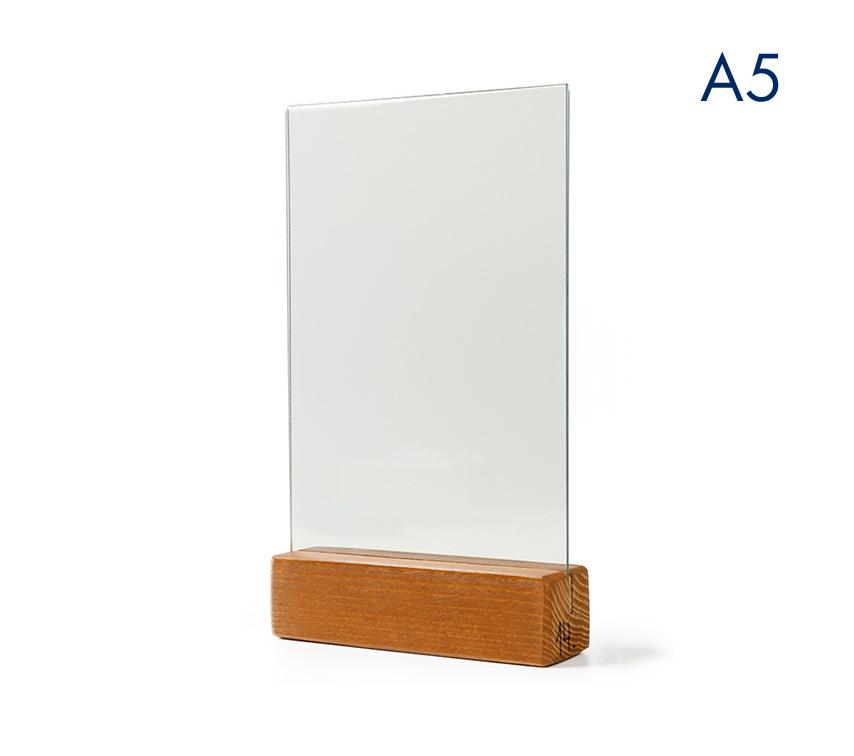 Менюхолдер (тейбл тент) А5 вертикальный с деревянным основанием