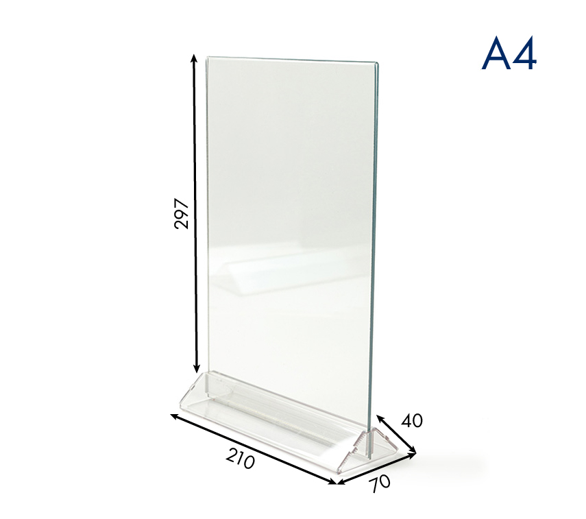 Менюхолдер (тейбл тент) А4 вертикальный прозрачный