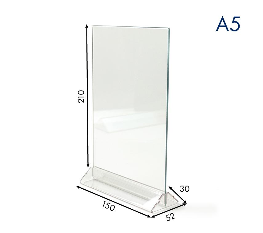 Менюхолдер (тейбл тент) А5 вертикальный прозрачный