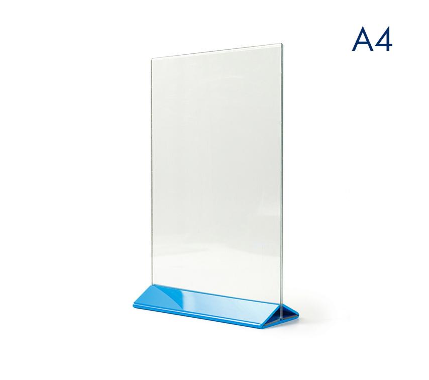 Менюхолдер (тейбл тент) А4 вертикальный пластиковый цветное основание