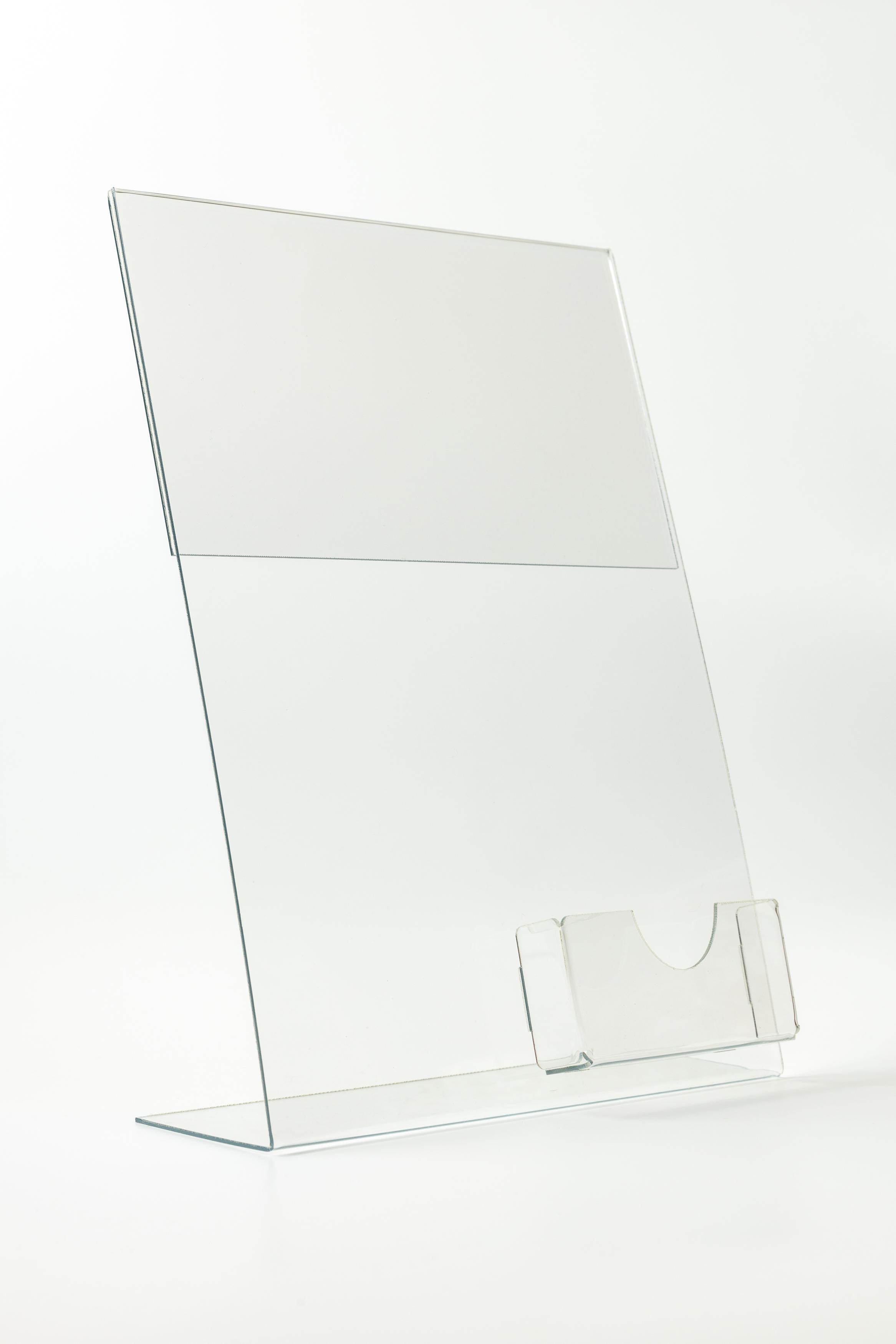 Буклетница пластиковая настольная А4 с визитницей
