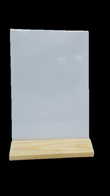 Менюхолдер (тейбл тент) А5 вертикальный на деревянном треугольном основании