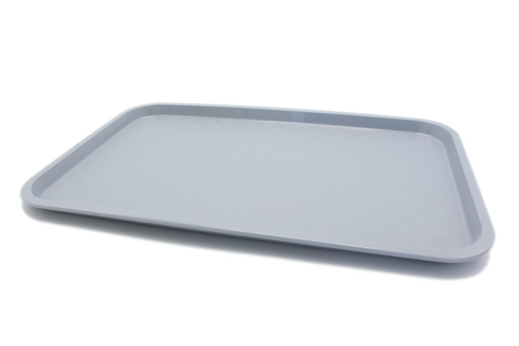 Большой прямоугольный поднос серый