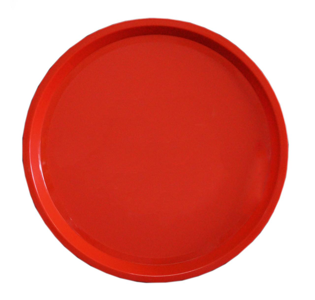 круглый пластиковый поднос красный