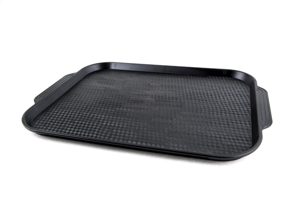 прямоугольный пластиковый поднос черный