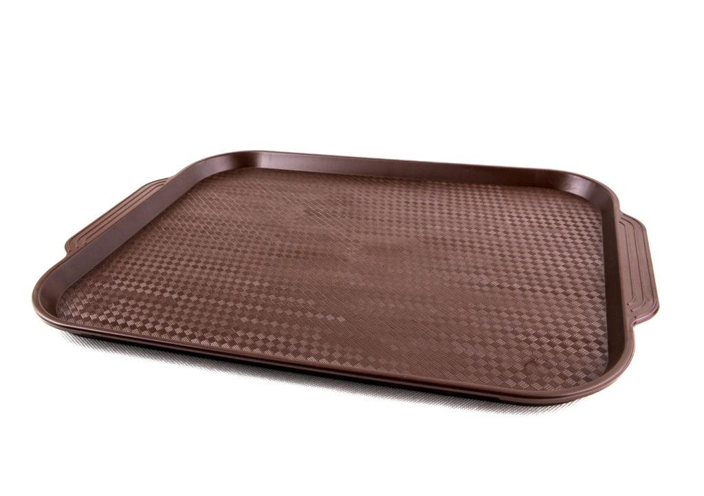 прямоугольный пластиковый поднос коричневый