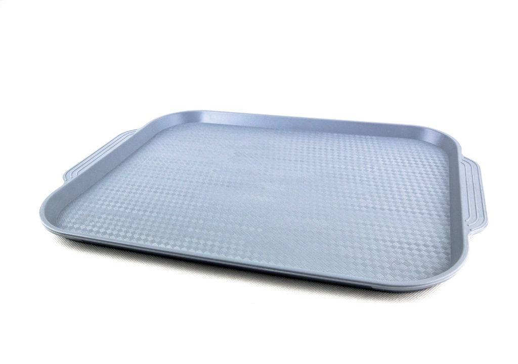 прямоугольный пластиковый поднос серый