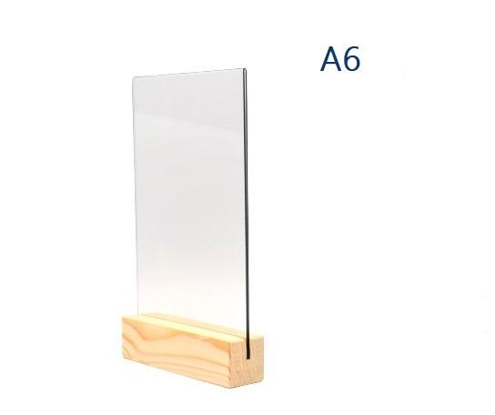 Менюхолдер (тейбл тент) А6 вертикальный с деревянным основанием