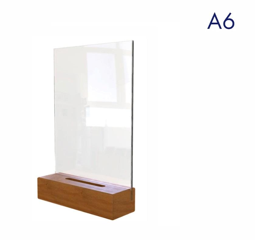 Менюхолдер (тейбл тент) на деревянном основании а6